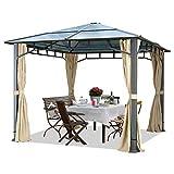 Gartenpavillon 3x3 m Polycarbonat Dach ca. 8mm Pavillon 4 Seitenteile Partyzelt Champagner ca. 9x9cm Profil