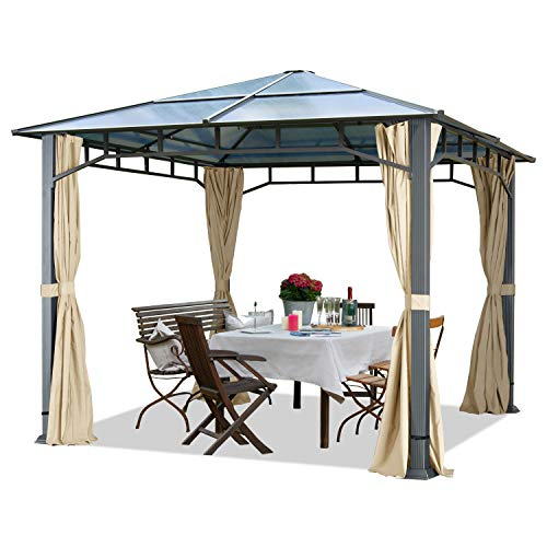 Cenador de jardín Aprox. 3x3 m Aluminio Techo de policarbonato Aprox. 8mm cenador de jardín 4 Cortinas Laterales Color champaña