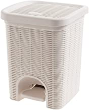 ZXHDND Trash Can, Rattan Pedal Trash Can, Living Room Small Paper Basket, Household Bathroom Kitchen Covered Trash, Size: ...