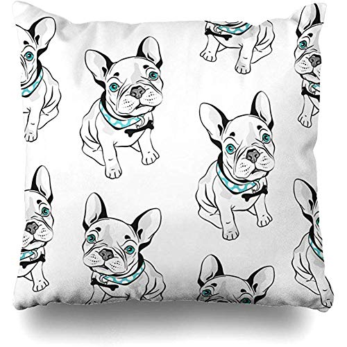 Throw Pillows Covers Cushion Case Gray Frenchie French Bulldog White Funny Dogs Blue Eyes Head Home Decor Pillowcase Square 18 x 18 Inches