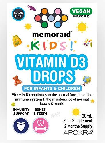 Vitamin D Drops - Vegan - 60 Days Supply – 30mL – Preservative Free and Sugar Free Kids Vitamins - VIT D 400IU in MCT Oil - 10 micrograms per 0.5mL | Memoraid Kids