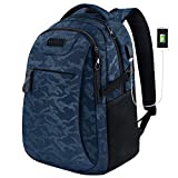 KROSER Mochila para Portátil de 15.6' Mochila de Computadora de Viaje/Trabajo con Puerto de Carga USB Repelente al Agua para Hombres/Mujeres-Camuflaje Azul Laptop Backpack