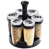 AOIWE 6 Tarras Rotura de Especias giratorias, Cajas de condimentos con Soporte Giratorio de 360 °, contenedores de acumulación de Vidrio Tarras de condimento de Barbacoa para Cocina