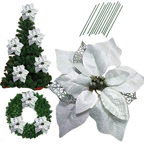 8.6 Inch Glitter Artifical Wedding Christmas Flowers Glitter Poinsettia Christmas Tree Ornaments Christmas Tree Decorations Pack of 12 (Silver)