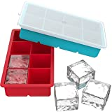 Vremi Large Silicone Ice Cube Trays - 2 Pack 8 Square Cubes per Tray Ideal for Whiskey, Cocktails, Soups, Baby...