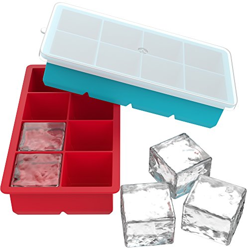 Vremi Large Silicone Ice Cube Trays - 2 Pack 8 Square Cubes per Tray Ideal for Whiskey, Cocktails, Soups, Baby Food and Frozen Treats - Flexible and...