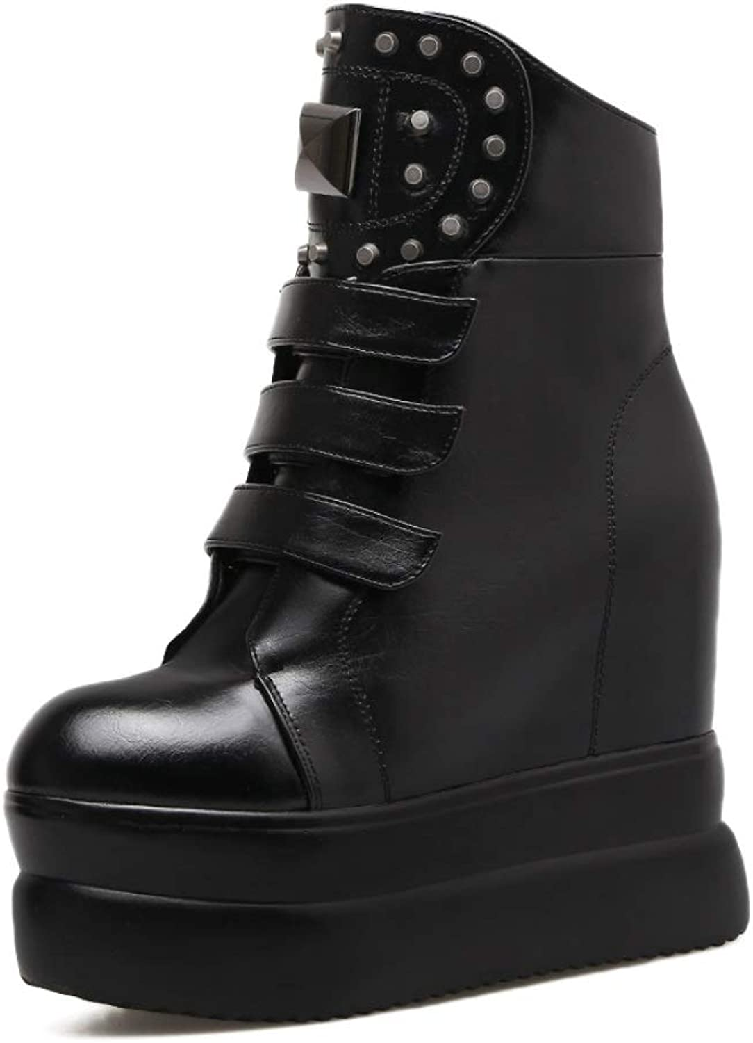 Women Platform Wedge Ankle Boots Hidden High Heels 11 cm Trainers Boots High Heel Rivets Black Warm Fashion Booties Party Leisure Booties Size