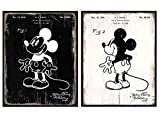 Mickey Mouse Patent Prints Set - Gift for Disney World, Walt Disney Fan - Vintage Mickey Mouse Wall Decor - Decorations for Boys, Girls, Kids Room - 8x10 UNFRAMED Original Rustic Wall Art Posters