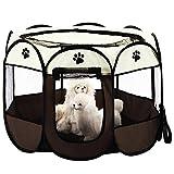 KEESIN Faltbares Haustier Zelt 8-Panel Mesh Haus WelpenLaufstall Hundehütte für Hunde Katze Kaninchen (73 * 73 * 43cm, Braun)