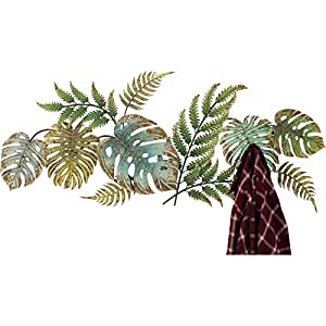 Kare Design Garderobe Jungle Party Colore, Garderobenleiste mit 6 Garderobenhaken im Dschungel Look, Graderobenhaken, Wandhaken, Hakenleiste, Wandgarderobe, Garderobenpaneel, Grün (H/B/T) 43x107x5cm