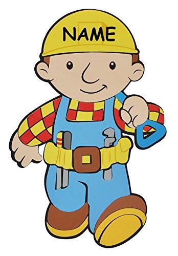 3-D Türschild / Wandbild / Wandtattoo - XL Bob der Baumeister incl. Namen - aus Moosgummi - Baustelle Wandsticker Wanddeko für Kinderzimmer Kind Kinder Deko B..