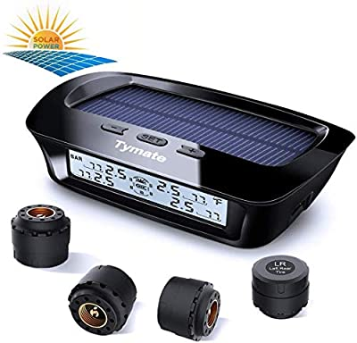 Tymate TPMS Solar Power Charge - 4 External Sensor (0-6.0 BAR) Wireless Tire Pressure Monitoring System, 6 Smart Alarm Modes Real-time Monitor Tire Pressure & Temperature (?/?) with HD LCD Display