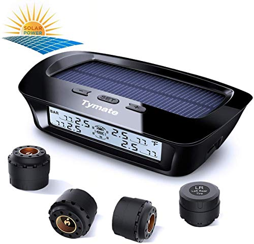 Tymate Tire Pressure Monitoring System-Solar Charge, 5 Alarm Modes, Auto Backlight & Sleep & Awake Mode, Tire Position Exchange, with 4 External Tmps Sensor (0-87 psi)