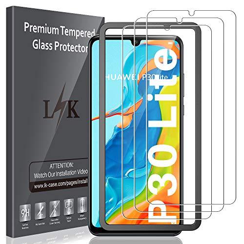 LK 3 Stück Schutzfolie Kompatibel mit Huawei P30 Lite Panzerglas, 9H Festigkeit Folie, HD Klar Bildschirmschutzfolie, Kratzen Blasenfrei 2.5D Rand Einfacher Montage