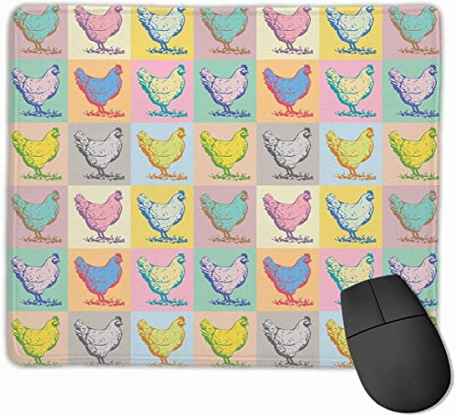 N/A Mouse Pad Colorful Vintage Chicken Artwork Rectangle Rubber Mousepad 11.81 X...