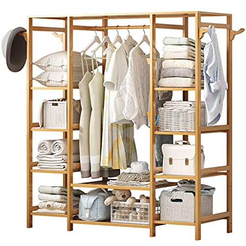 N/Z Home Equipment Wardrobe Storage/Wardrobe Modern Minimalist Bamboo Hanger Portable Clothing Rack Coat Rack Storage Box for Entrance and Bed Design Portable Closet