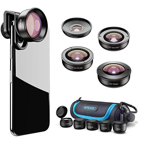 Apexel - Kit de Lentes de teléfono HD (170 °, Gran Angular, 10 Lentes Macro, ángulo de 110°, Zoom de 2,0X, Lente Ojo de pez de 195 °, para iPhone XR/XS/XS MAX/X/8 7 6 Plus, Android, Samsung)