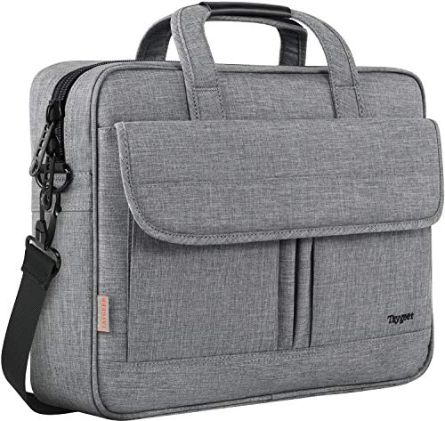 Taygeer Laptop Bag for Women Men, Travel Water Resistant Crossbody Shoulder Bag for Business Office, Durable Professional 15.6 Inch Laptop Case, Portable Briefcase Attache Bag for 15.6 HP Lenovo,Grey