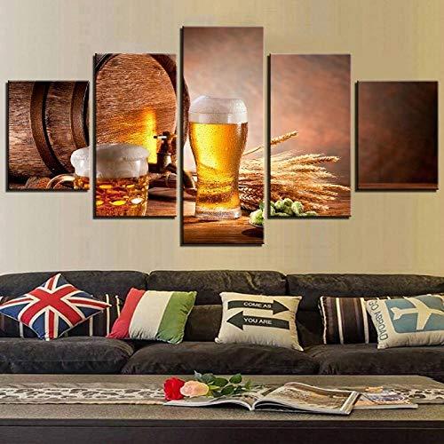 TXFMT Geen frame canvas decoratie schilderij handgemaakte DIY Modern Posters Canvas Schilderen 5 Stuks Vat Schuimen Bier met Voedsel/Drinken Poster Muurfoto Voor Woonkamer Cafe Bar Pub foto's non-wove 200*100CM
