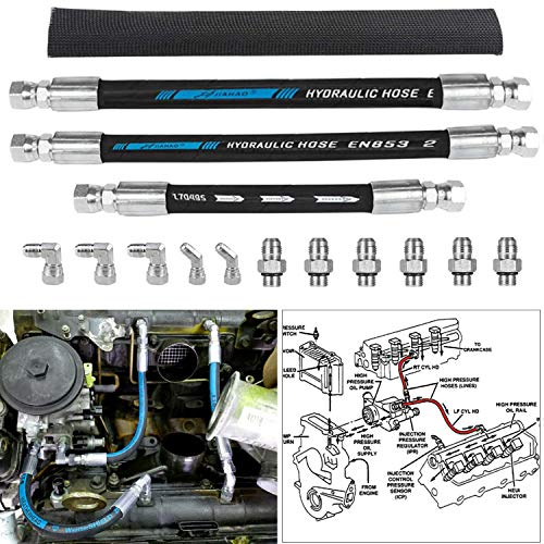High Pressure Oil Pump HPOP Hoses Lines Kit & Crossover Line Fit for Ford...