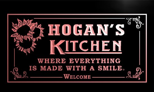ps1489-r HOGAN's Personalized Welcome Kitchen Bar Wine Neon Light Sign