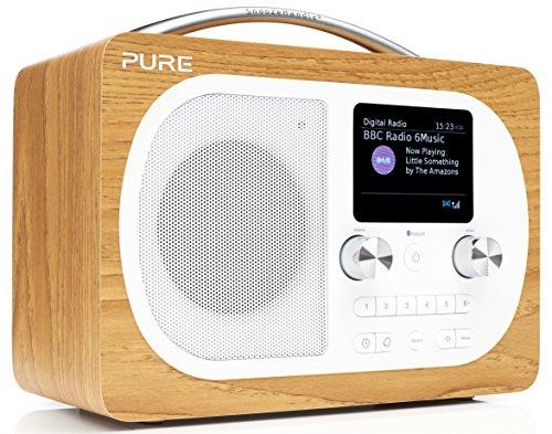 Pure Evoke H4 Digitalradio (DAB+, DAB, UKW, Bluetooth, Sleep-Timer, Weckfunktion, Schlummerfunktion, Countdown-Timer, 50 h Akkulaufzeit, 40 Senderspeicherplätze, AUX), Eiche