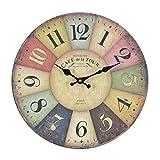 Reloj de pared - London 1879 - reloj de cocina de madera con esfera grande de MDF, reloj retro en diseño de moda Shabby Chic con mecansimo de quarzo silencioso, Ø: 32 cm