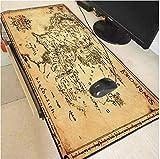 RKZM El Mapa de El Señor de los Anillos Alfombrilla de ratón para Juegos extendidos Bordes cosidos Impermeable Ancho y Largo Alfombrilla de Goma Alfombrilla para Teclado 900 * 400 * 3Mm