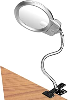 LED Magnifier Glass Light 2.25X 5X Insert Lens Magnifying Desktop Table Lamp Helping Hands Battery Operated Portable with Flexible Hose Clip on Clamp Silver