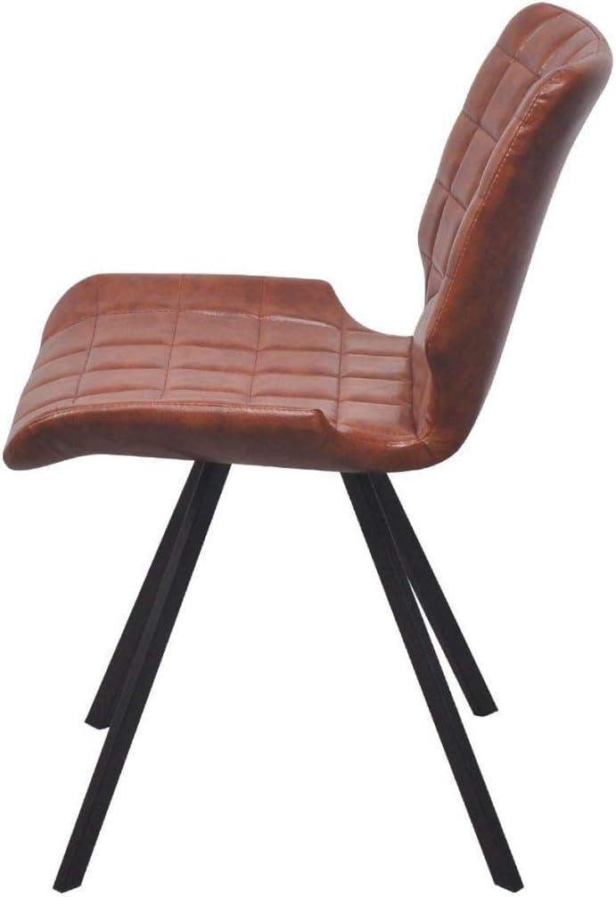 Tidyard Jeu de 6 Chaise de Salle à Manger/Chaise de Bureau Revêtement en Cuir Artificiel Solide et Durable Marron 47 x 58 x 78,5 cm Marron