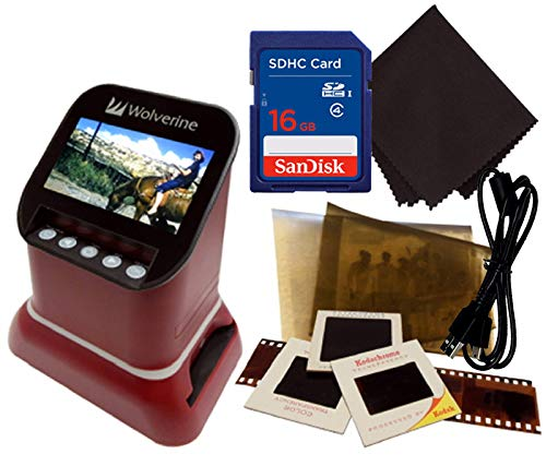 "Wolverine F2D Saturn Digital Film & Slide Scanner - Converts 120 Medium Format, 127 Film, Microfiche, 35mm Negatives & Slides to Digital - 4.3"" LCD, 16GB SD Card, Z-Cloth & HDMI Cable Included (Red)"