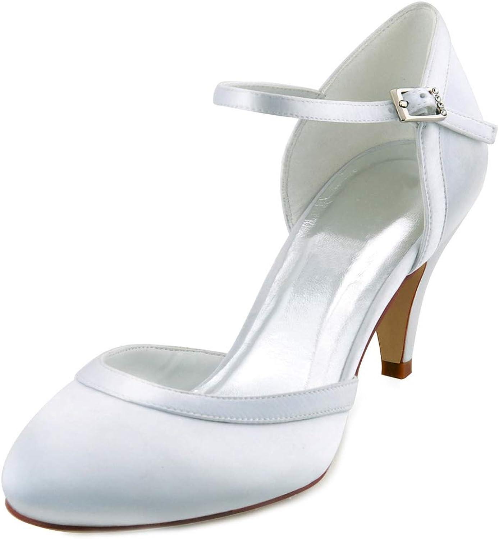 LHWAN Frauen mittlere Ferse Hochzeit Schuhe Braut Komfort geschlossen Zehe Schnalle Satin Brautjungfern Braut Prom Party Pumps