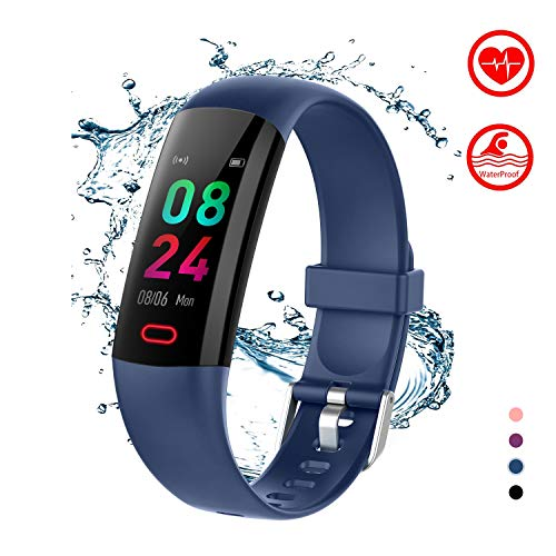 BingoFit Kids Fitness Tracker Watch with Heart Rate Monitor, Swimproof Kids Activity Tracker Pedometer Watch, Slim Sport Fitness Watch with Sleep Monitor, Calorie Counter for Kids Women Men (Blue)