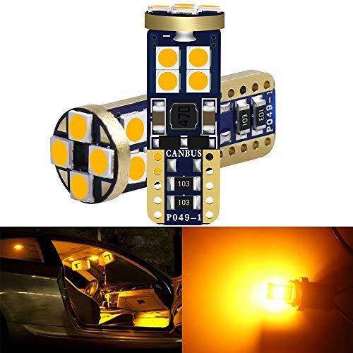 ALOPEE 2-Pack T10 194 168 921 Ambre/Jaune sans Polarité Canbus sans Erreur LED Lumière 12V-18V, 12-SMD 3030 Chipsets Ampoule de Remplacement De Voiture pour 168 2825 Sauvegarde Feu Arrière Marqueur