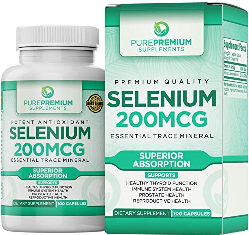 Premium Selenium Supplement by PurePremium (Gluten-Free and Vegan). 100 Once Daily Selenium 200mcg Caps. Supports Immune System, Reproductive and Prostate Health - Essential Trace Mineral