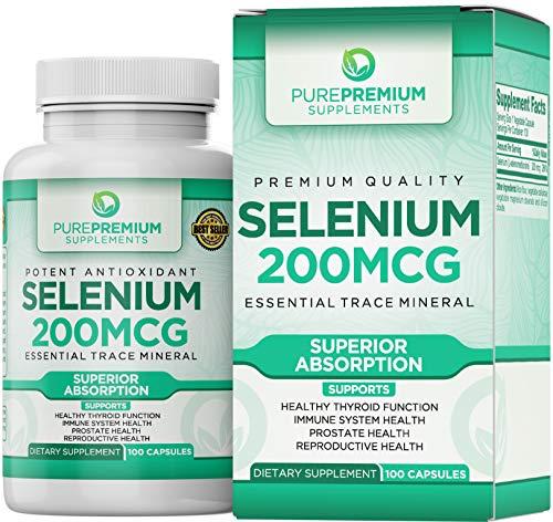 Premium Selenium Supplement by PurePremium (Gluten-Free and Vegan). 100 Once Daily Selenium 200mcg...