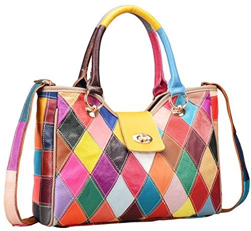 On Clearance Heshe Womens Multi-color Shoulder Bag Hobo Tote Handbag Cross Body Purse (Colorful-2B4008)