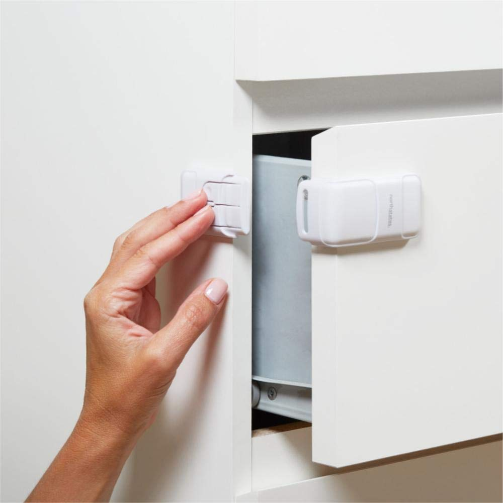 Toddleroo by North States Corner Drawer Locks Works on end Drawers or Filing cabinets No Tools Required Baby proofing with Confidence (2-Pack, White)
