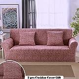 Meiju Housses de Canapé 1 2 3 4 Places Extensible, d'angle avec sans Accoudoirs en Forme de L Chic Imprimé Revêtement de Canapé Sofa + 2 x Housse De Coussin (2 Places,Marron)
