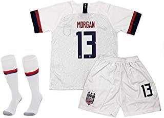 MGDQYS Morgan 13 Alex Soccer Jersey Home for Youth and Kids Including Shorts & Socks White