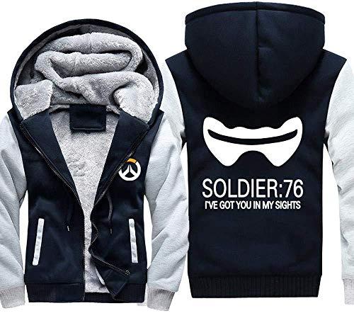 FKYUYU Plus Velvet Thick Warm Hoodie Spiel Overwatch DVA Sensenmann Mit Kapuze Strickjacke Jacke Männer Kleidung,Bluewhite5-XX-Large
