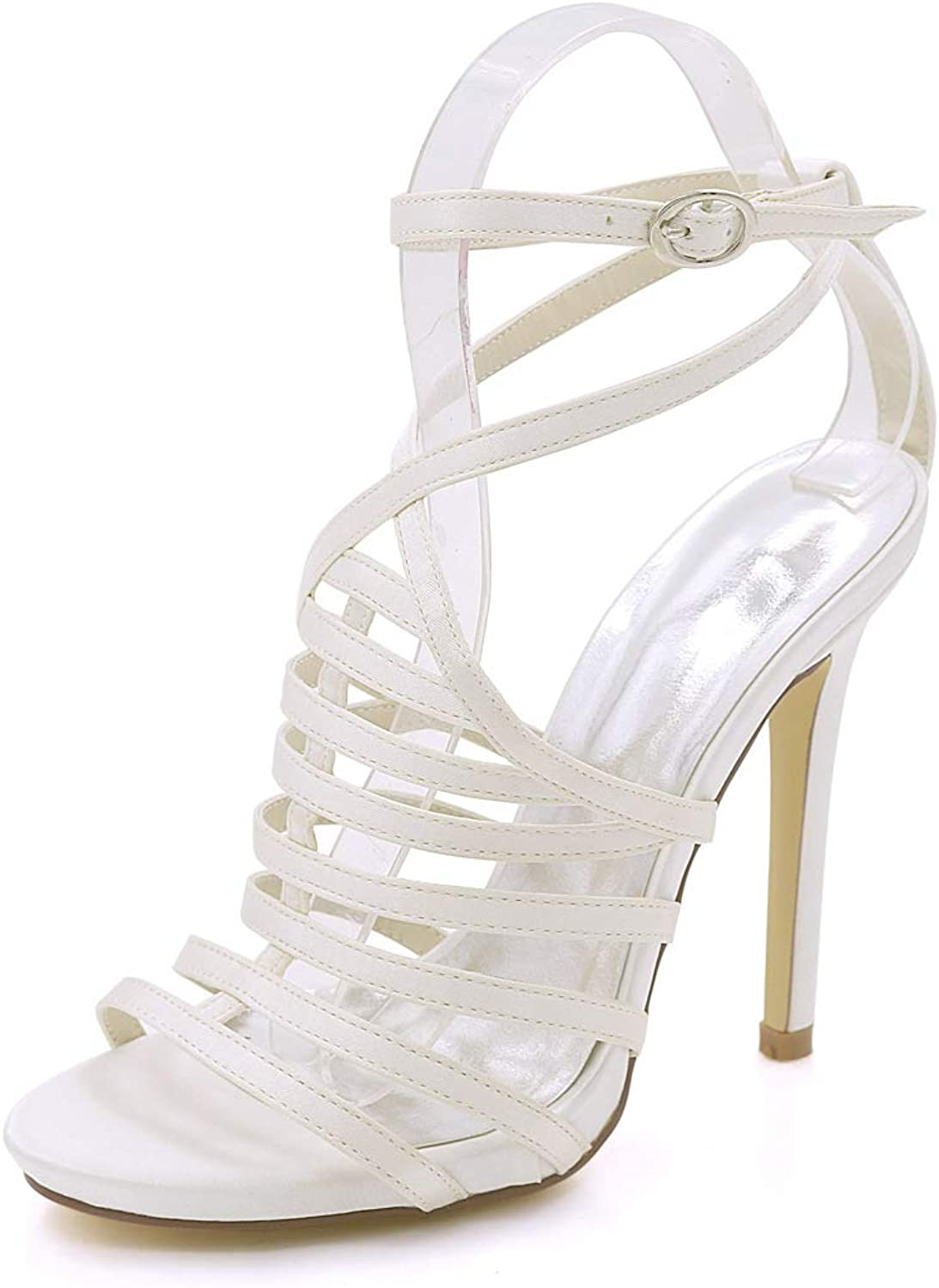 CCBubble High Heels Open Toe Bridal Sandals Multi Strap Stiletto Heels Prom Evening Formal Party shoes 30P