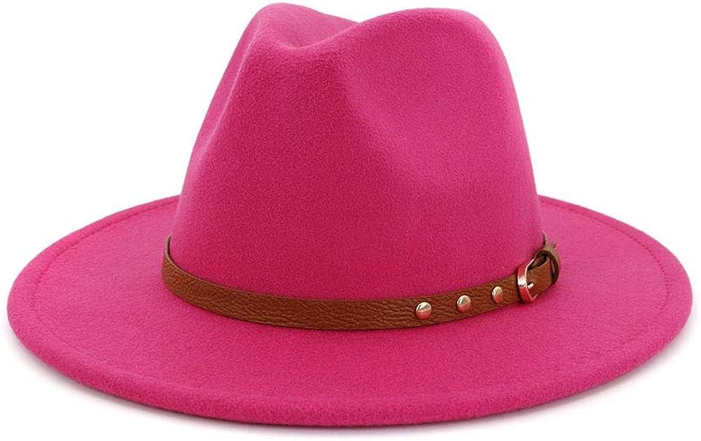TANGADYL Women Wool Felt Cap Belt Buckle Fedora Hat