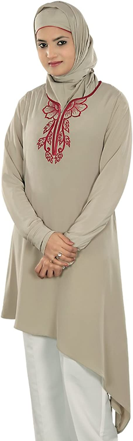 MyBatua Women's Muslim Clothing Party & Occasion Wear Tisha Tunic in Warm Grey