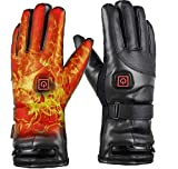 JINGOU Heated Gloves, 7.4V 4000mAh Rechargeable Battery Heated Leather Gloves for Men Women Waterproof,Fast Heating Thermal Gloves Electric Gloves for Adults Heated Motorcycle Skiing Gloves