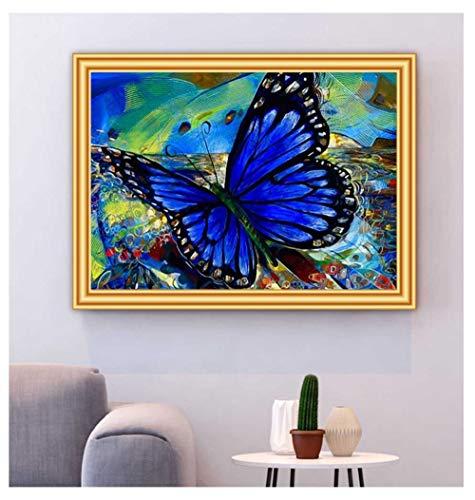 DIY Diamant Painting Bilder Voll Kits für Erwachsene Kinder Blue Butterfly 5D Diamond Painting Full Set Kristall Strass Stickerei Kreuzstich für Home Wall Decor -Round Drill,11.8x15.7inch/30x40cm