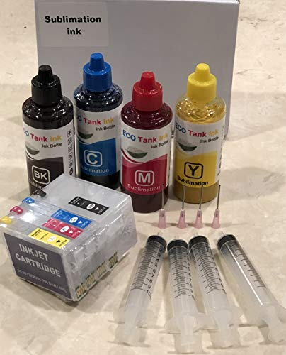 ECO Tank Ink 400 ml Sublimation Ink Combo kit Conversion Refill for Workforce WF-7710 WF-7720 WF-7210 WF-3620 WF-3640 WF-7610 WF-7620 Printer Cartridges ARC Auto Heat Press Transfer with 4 Syringes