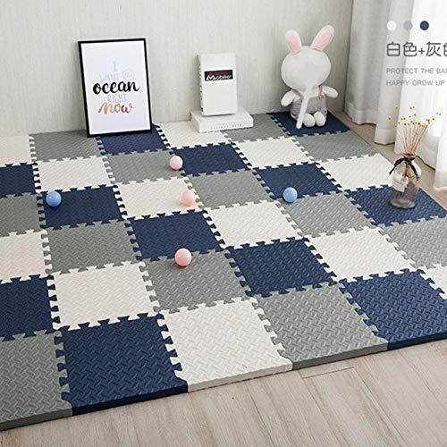 ACARYI Baby Puzzle-Matten für Kinder Spielteppich Interlocking Exercise Fliesen Teppiche Boden Fliesen Spielzeug Teppich weichen Teppich Klettern Eva-Schaum-Pad (White Grey,24 Pieces)
