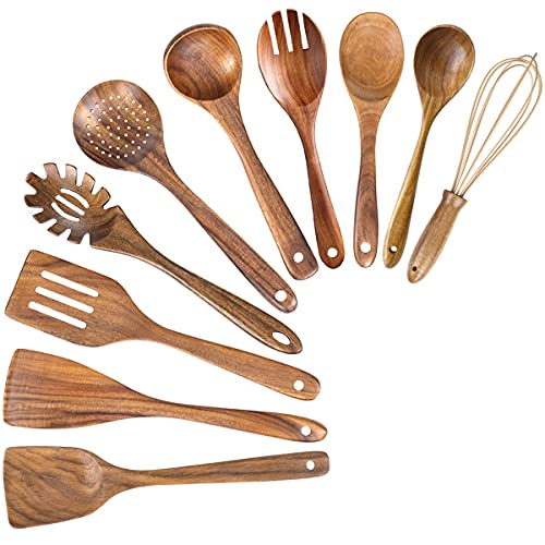 Wooden Spoons for Cooking, 10 Pack Wood Kitchen Utensils Wooden Spoons for Cooking,Teak Wooden Cooking Spoons Spatula for Nonstick Cookware (10)