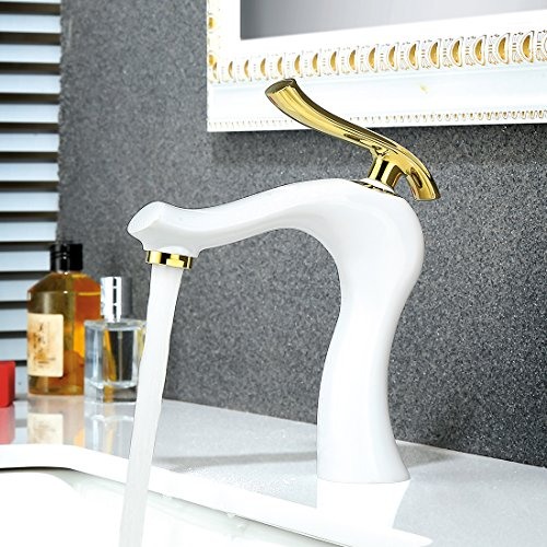 TIMACO Weiß gold Waschtischarmatur Badarmatur Hochdruck Wasserhahn Bad Armatur Waschbecken Mischbatterie Einhebelmischer für Badezimmer,Kaltes und Heißes Wasser Vorhanden